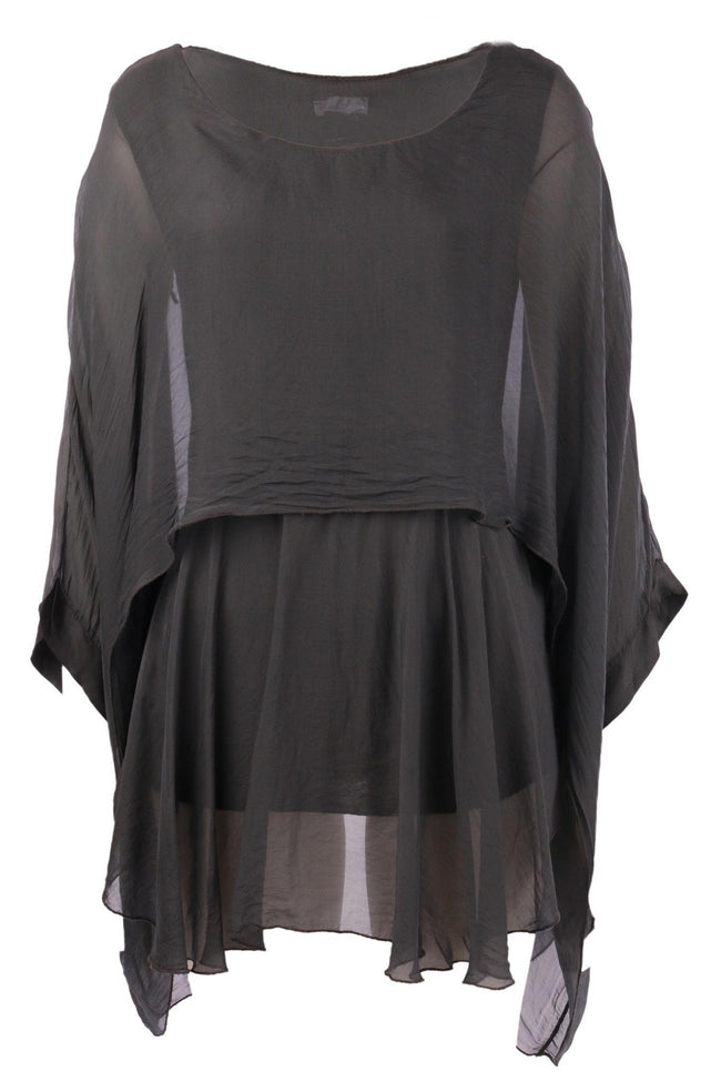 The Layered Silk Top in Charcoal by Elizabeth Scott