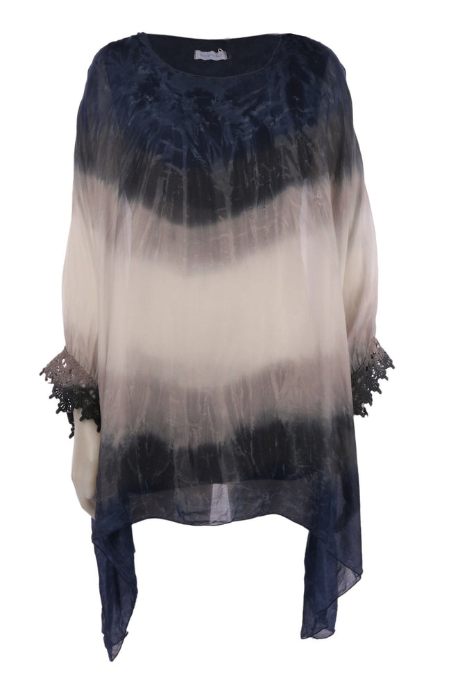 Variegated Floaty Silk Top With Lace Trim in Indigo by Elizabeth Scott