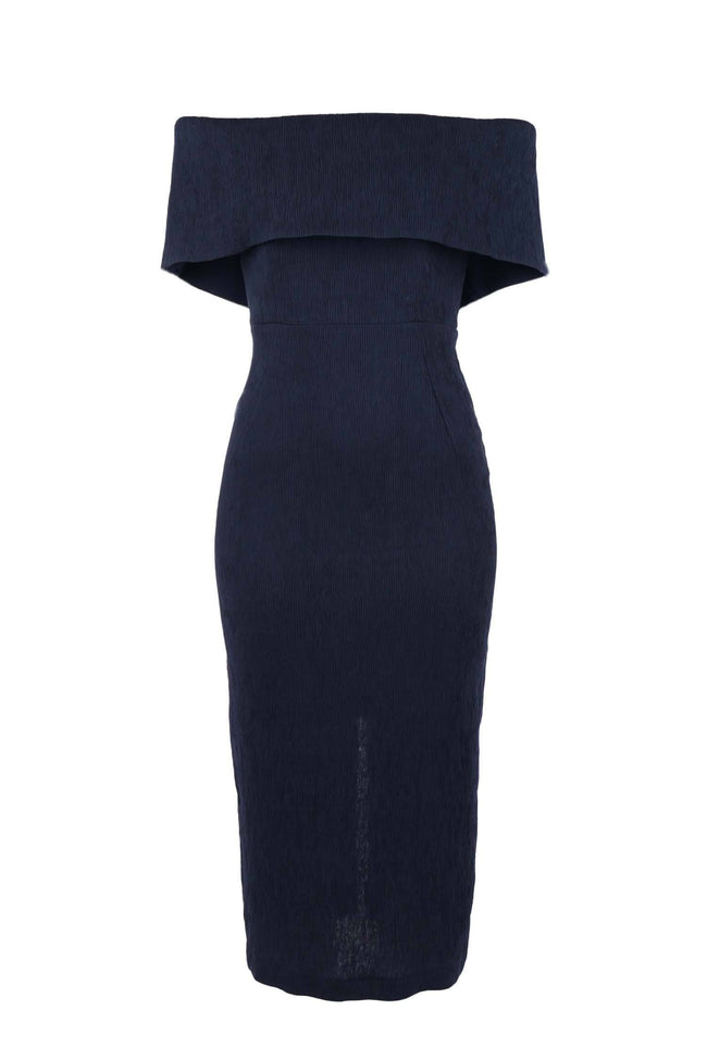 Mink Midi in Navy Mock Pleat