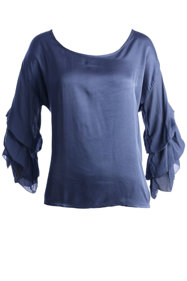 Ruffled Sleeve Silk Top in Indigo by Elizabeth Scott Frockaholics.com
