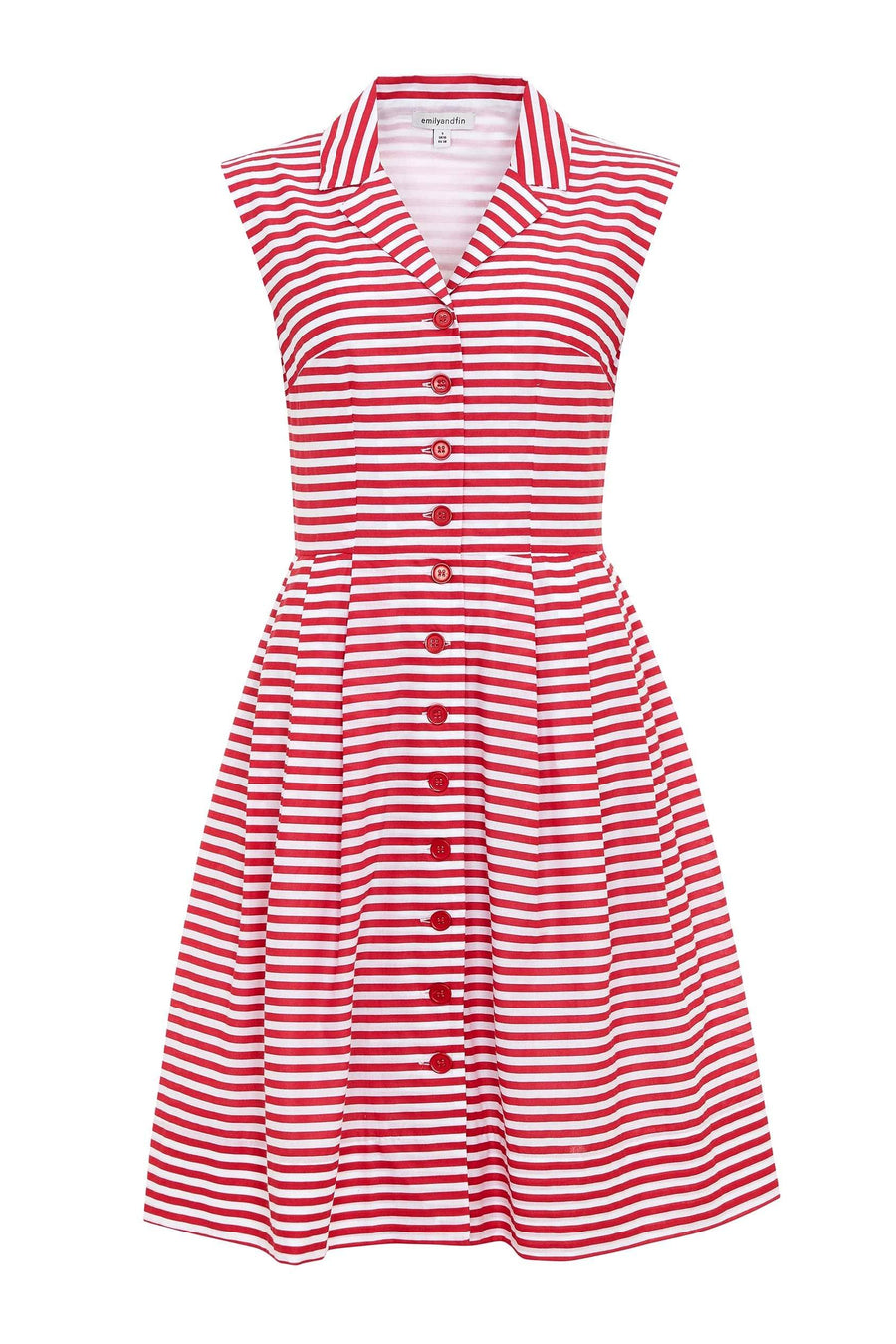 Frankie Dress in Red and White Stripe