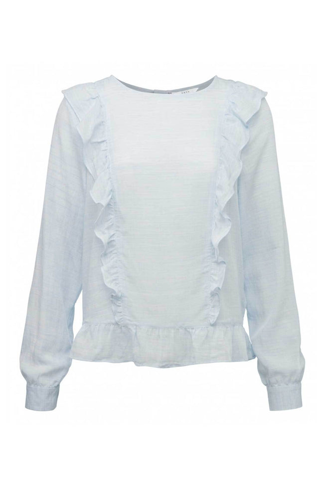 Shop Online Woven Top Ruffles in Light Chambray Blue by Yaya | Frockaholics.com Tops