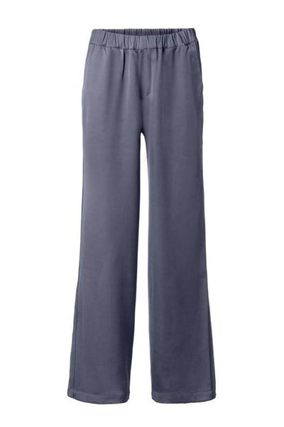 Flowy Wide Leg Pant in Antracite Blue Bottoms Yaya