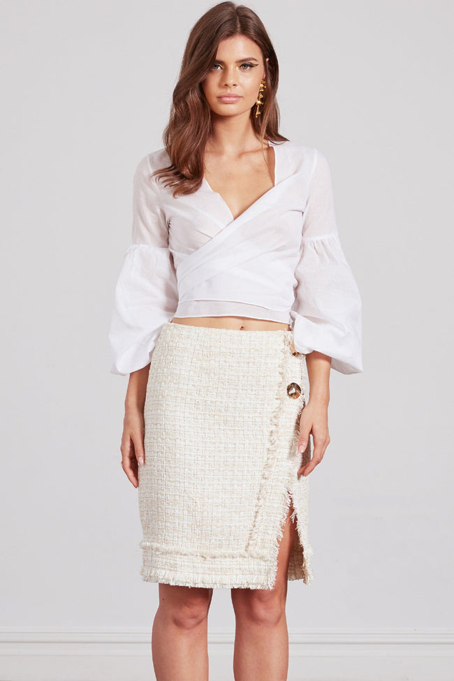 Twiggy Pencil Skirt in Ivory/Gold