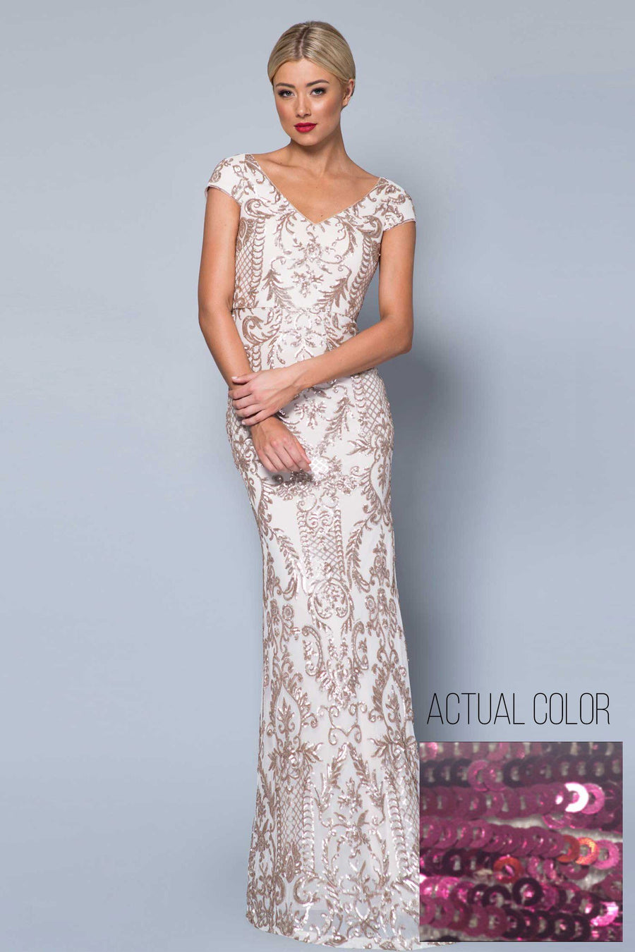 Sal Cap Sleeve Pattern Sequin Gown