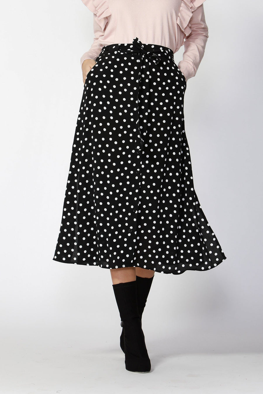 Dee Polka Dot Skirt With Tie