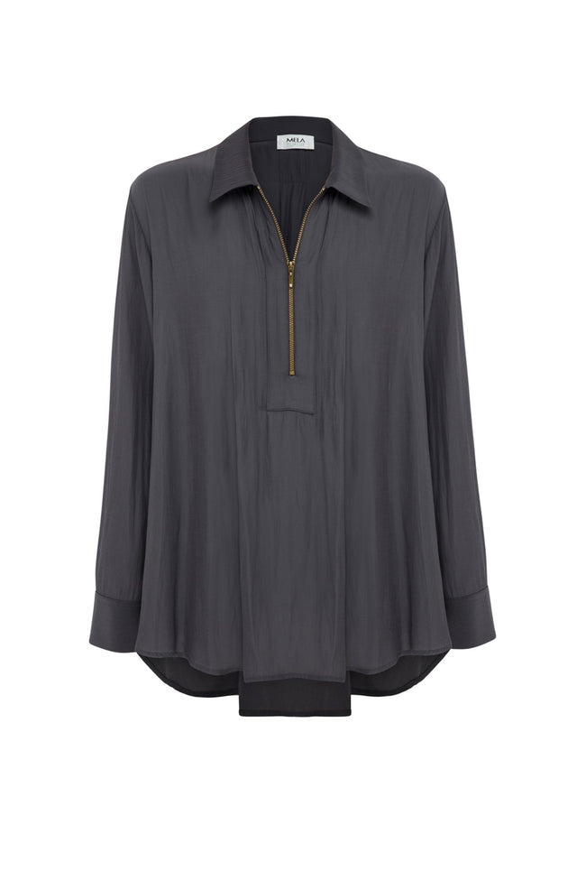 Zip Pleat Shirt in Caviar