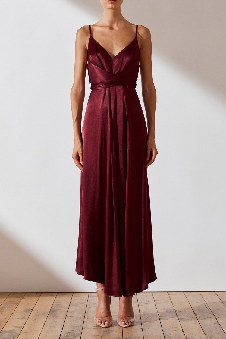 Gisele Tie Draped Midi Dress