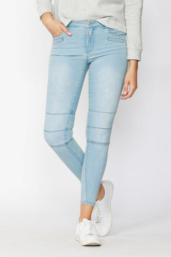 Mostly Moto Jean in Ice Blue