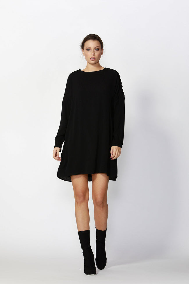 Flora Buttoned Sleeve Dress in Black