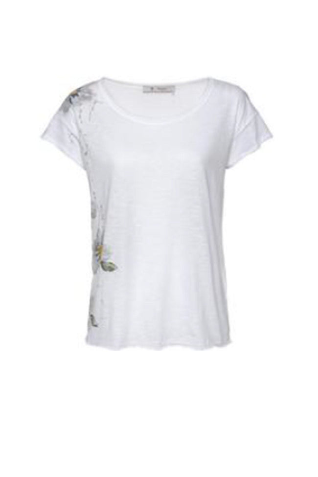 T-Shirt Gemalte Blumen in White