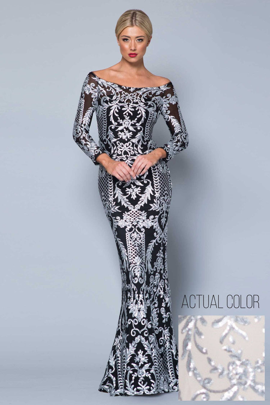 Cindy Off-Shoulder Pattern Sequin Gown