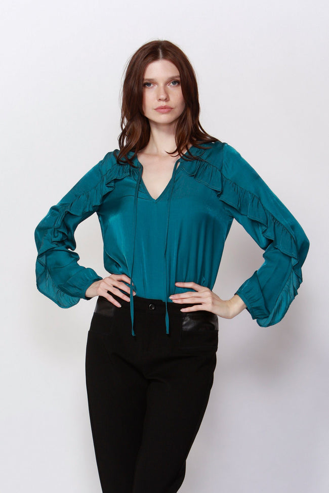 Richmond Frilled Blouse in Jade