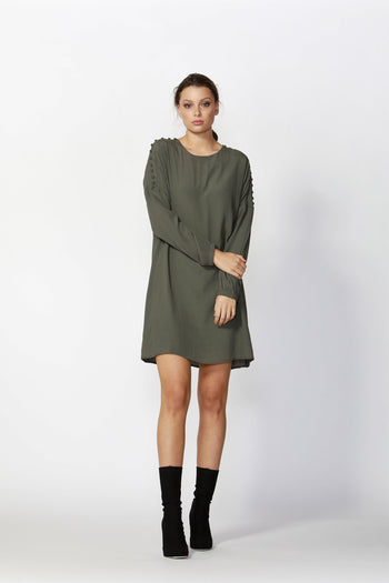 Flora Buttoned Sleeve Dress in Khaki