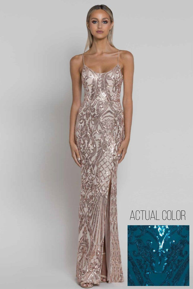 Colette Scoop Pattern Sequin Gown in Teal