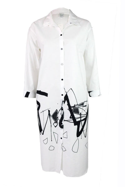 White Graffiti Shirt Dress | FINAL SALE Dresses Illium