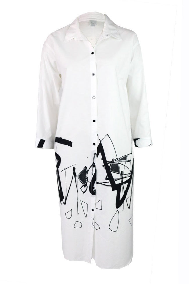 White Graffiti Shirt Dress | FINAL SALE