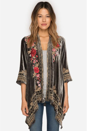 Meri Velvet Draped Cardigan