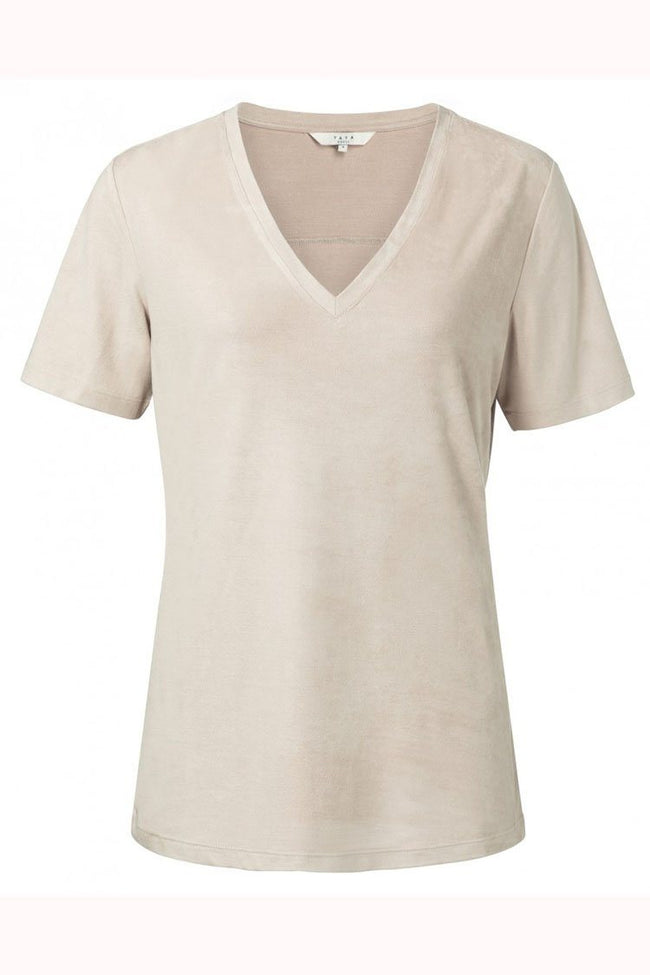 Jersey Fake Suede V-Neck Tee