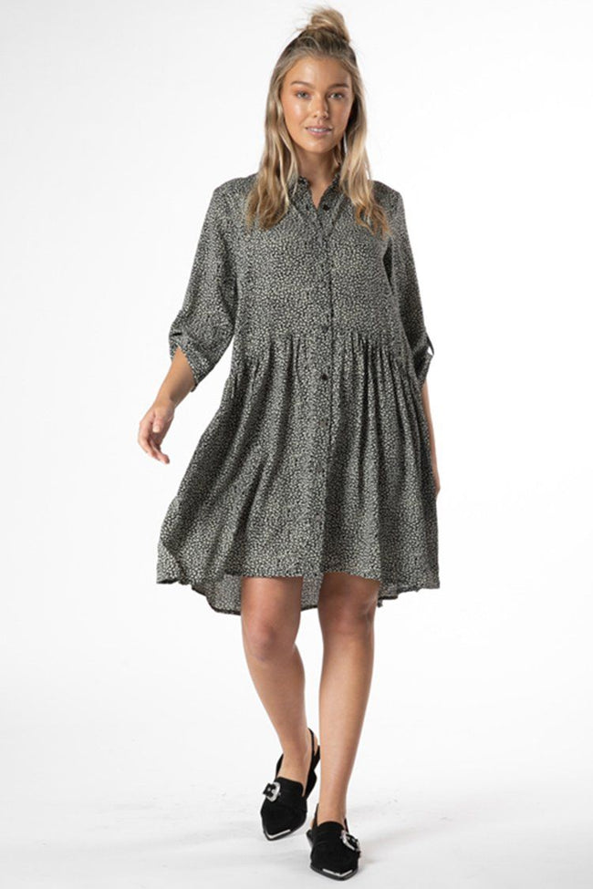 Jocey Shirt Dress in Black Animal Print