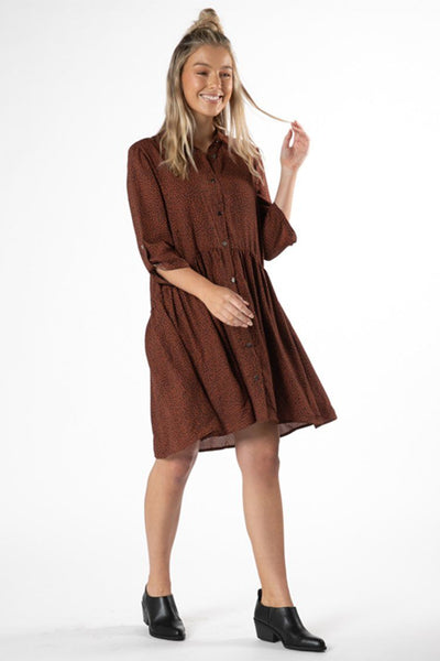 Jocey Shirt Dress in Rosewood Animal Print Dresses SASS