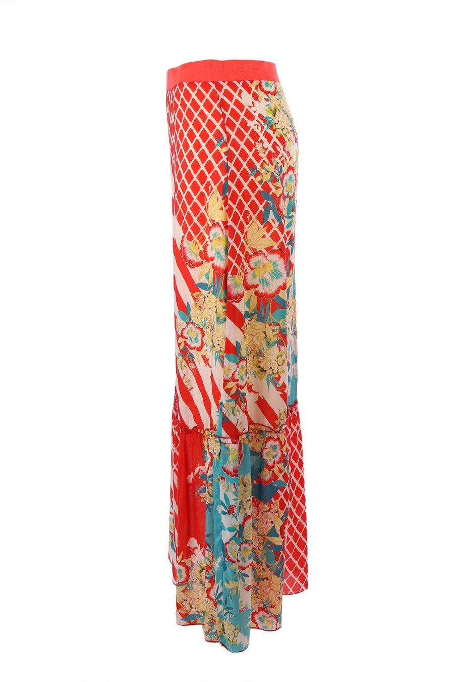 Mixed Print Maxi Skirt in Orange | FINAL SALE