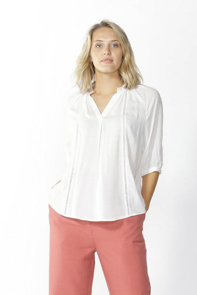 Juliette Ladder Lace Blouse in White Tops Fate + Becker