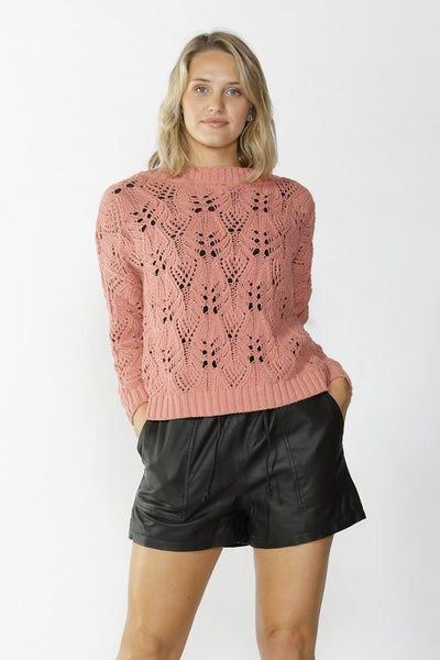 Karina Lace Knit Jumper in Pink Tops Fate + Becker