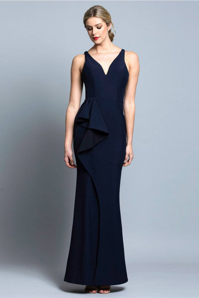 Kelly V-Neck Ruffle Gown