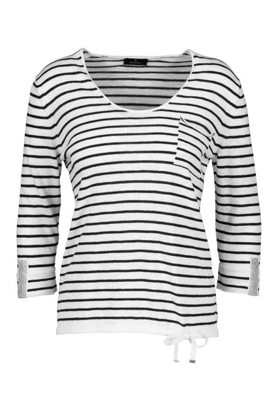 Knitted Striped 3/4 Sleeve Pullover Tops Monari