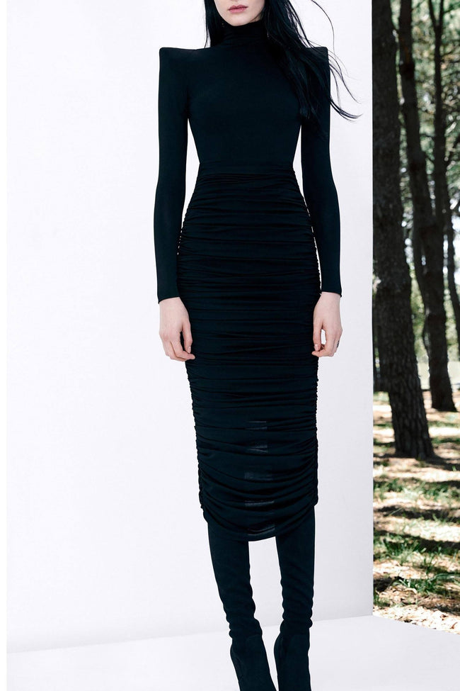 Fallon Mesh Rouched L/S Dress