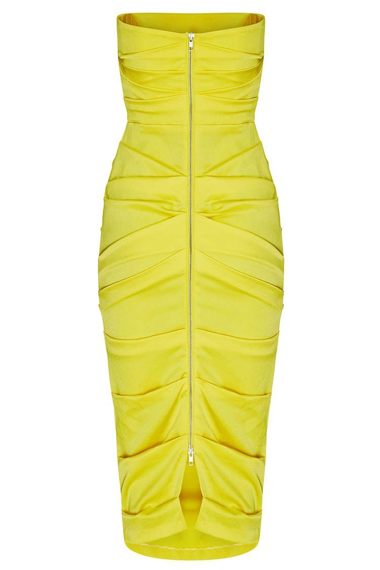 Ace Ruched Strapless Dress