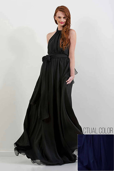 Harlow Gown in Midnight | Chiffon Dresses Lucy Laurita - Leiela