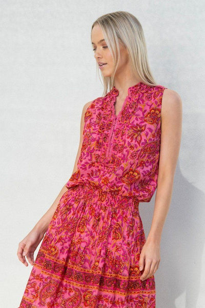 Ruby Maxi Dress in Paisley Swirl Red Pink Dresses Lola Australia