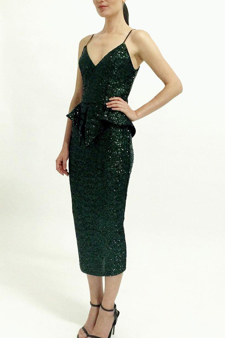 Lover Sequin Midi Dress in Amazon Green