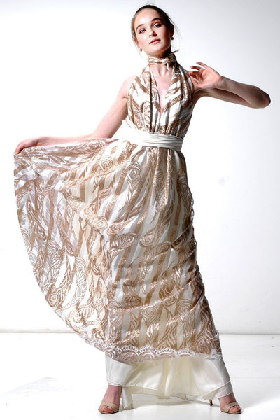 Aria Gown in Metallic Gold Dresses Lucy Laurita - Leiela