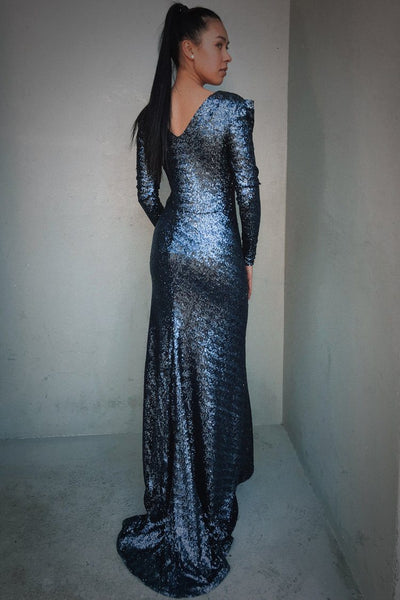 Stardust LS Gown in Navy Dresses Lucy Laurita - Leiela