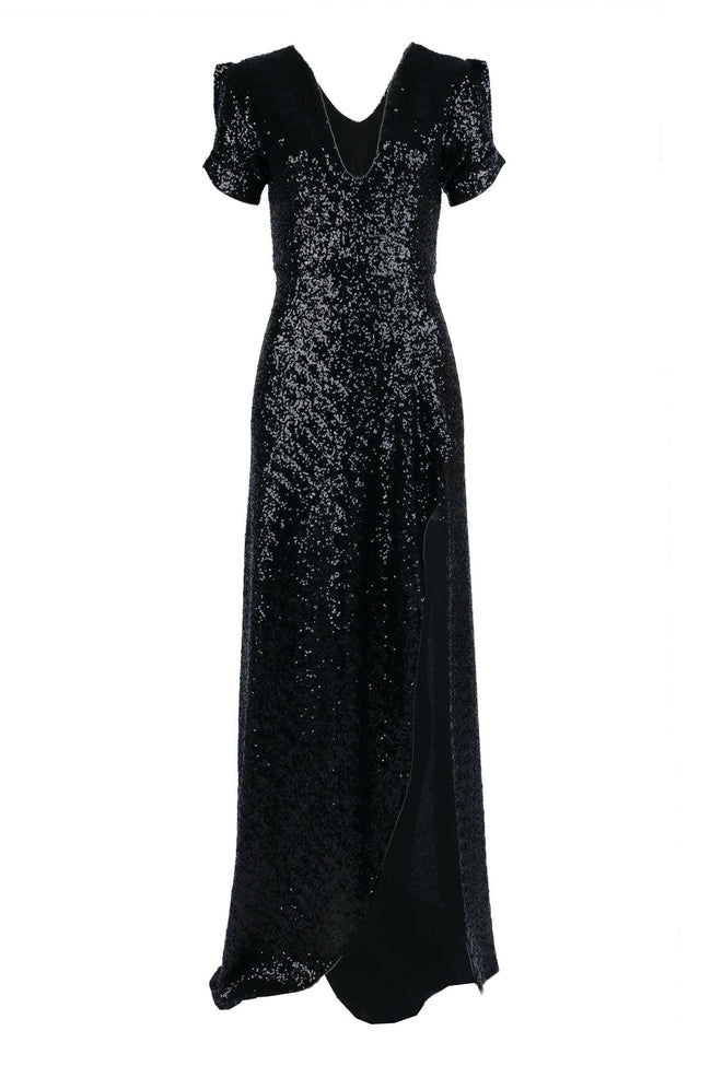 Viva Gown in Matte Black Sequin