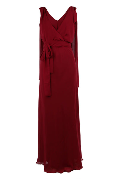 Chiara Gown in Claret Georgette Dresses Lucy Laurita - Leiela