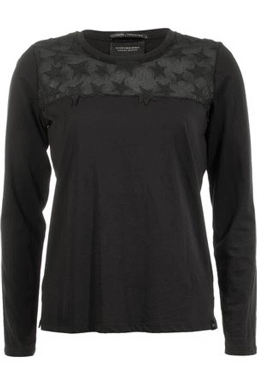 Shop Online Long Sleeve Tee With Star Mesh by Maison Scotch  Frockaholics Tops
