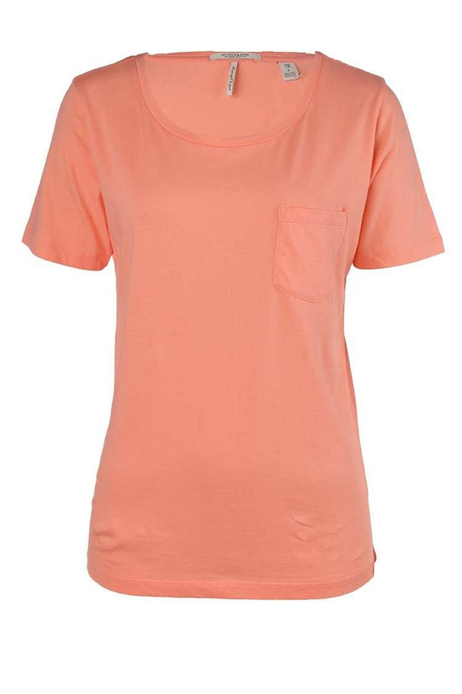 Basic Tee With Chest Pocket in Caribbean Coral