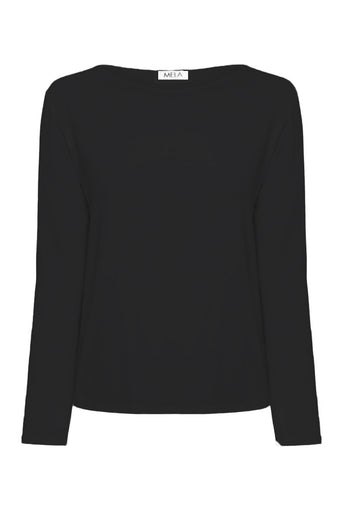 L.S Relaxed Boat Neck in Black