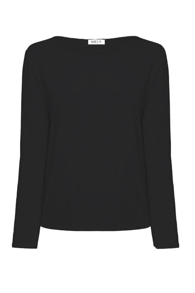 L.S Relaxed Boat Neck in Black Tops Mela Purdie