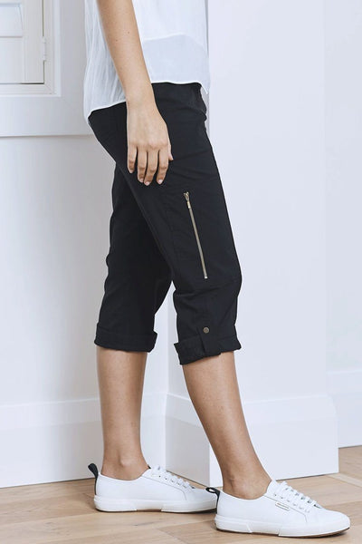 Cropped Zip Cargo in Black Bottoms Mela Purdie