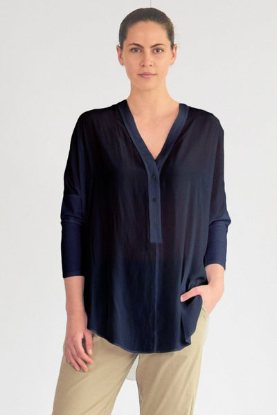 Splice Track Overshirt in French Navy Tops Mela Purdie