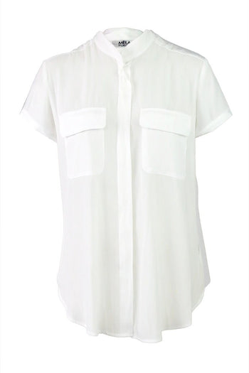 Stand Collar Blouse in White