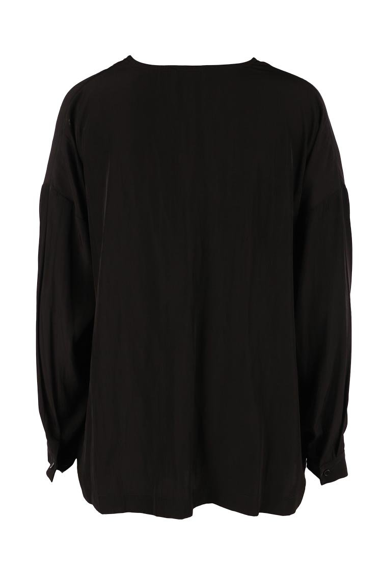 L/S V Blouse in Black