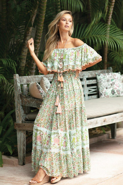 Bambi Maxi Dress in Pale Green Print Dresses Miss June
