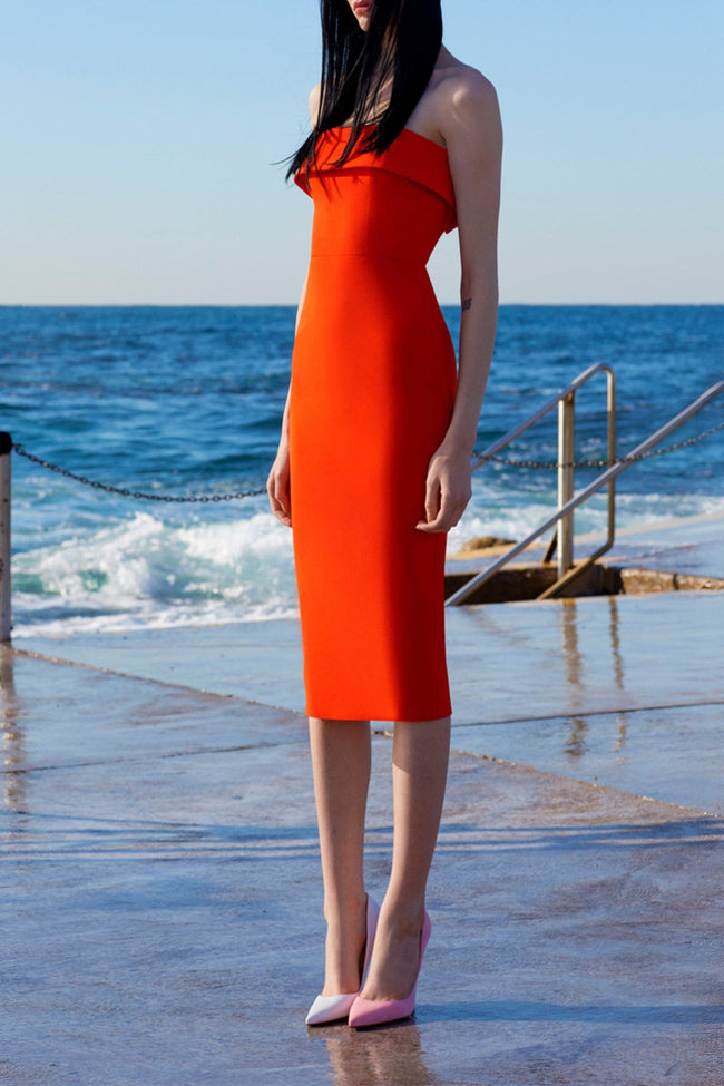 Audra Strapless Cuff Lady Dress in Tangerine
