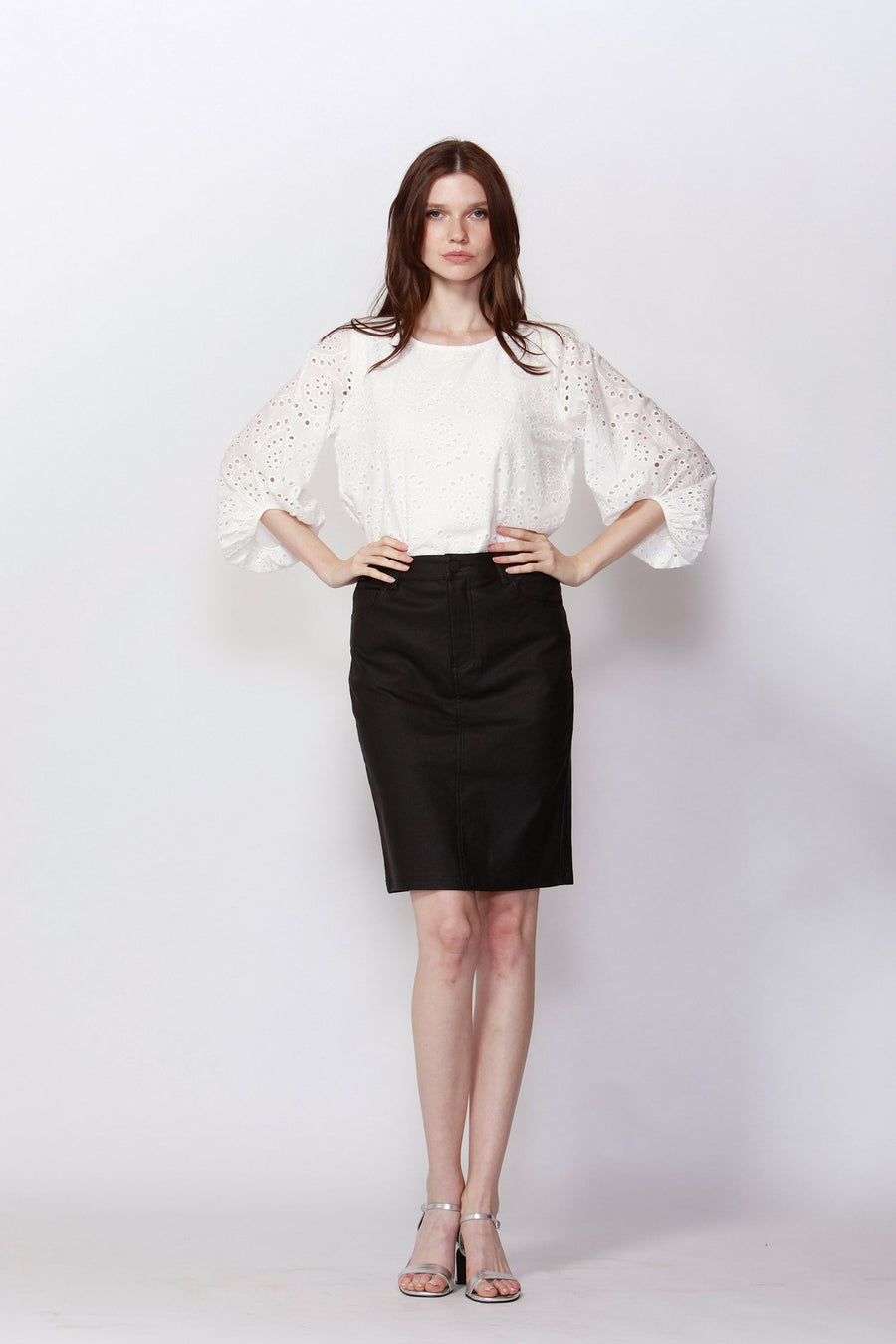 Vista Broderie Cotton Blouse in Pearl